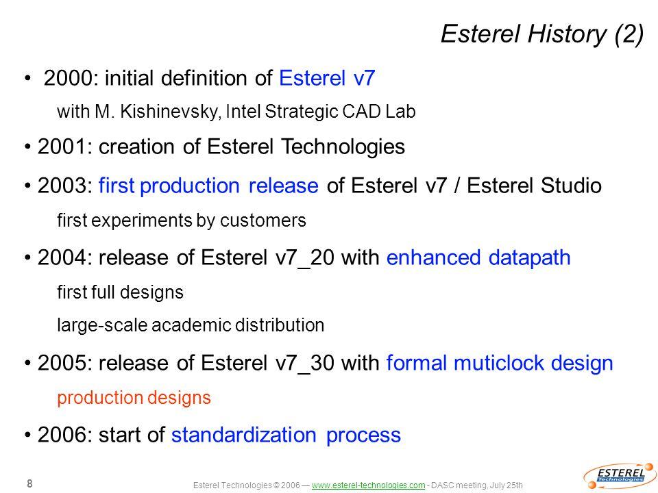 Esterel Technologies © 2006 — www.esterel-technologies.com - DASC meeting, July 25thwww.esterel-technologies.com 8 8 Esterel History (2) 2000: initial definition of Esterel v7 with M.