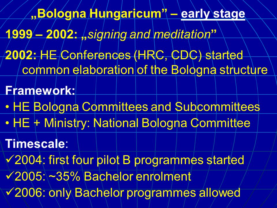 """Bologna Hungaricum – on halfway 107 Bachelor programmes are accredited and released by government decree – 2006 is ""ante portas – Enrolment informa- tion book appeared on 15th December 2005."