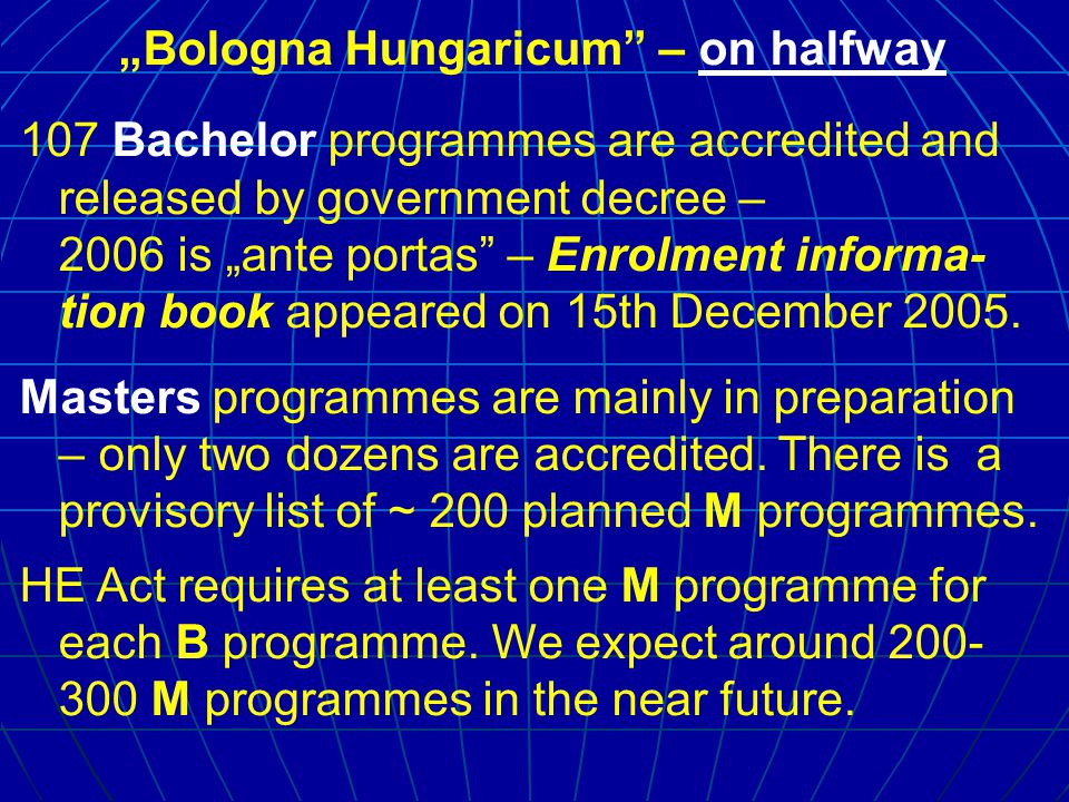 """Bologna Hungaricum – degree structure Bachelor: mainly 180 or 180+30* (practice) – rarely 210 or 240 credits Master: B+M minimum 300 (no exceptions!) M: mainly 120, rarely 90, some managers only 60 credits."