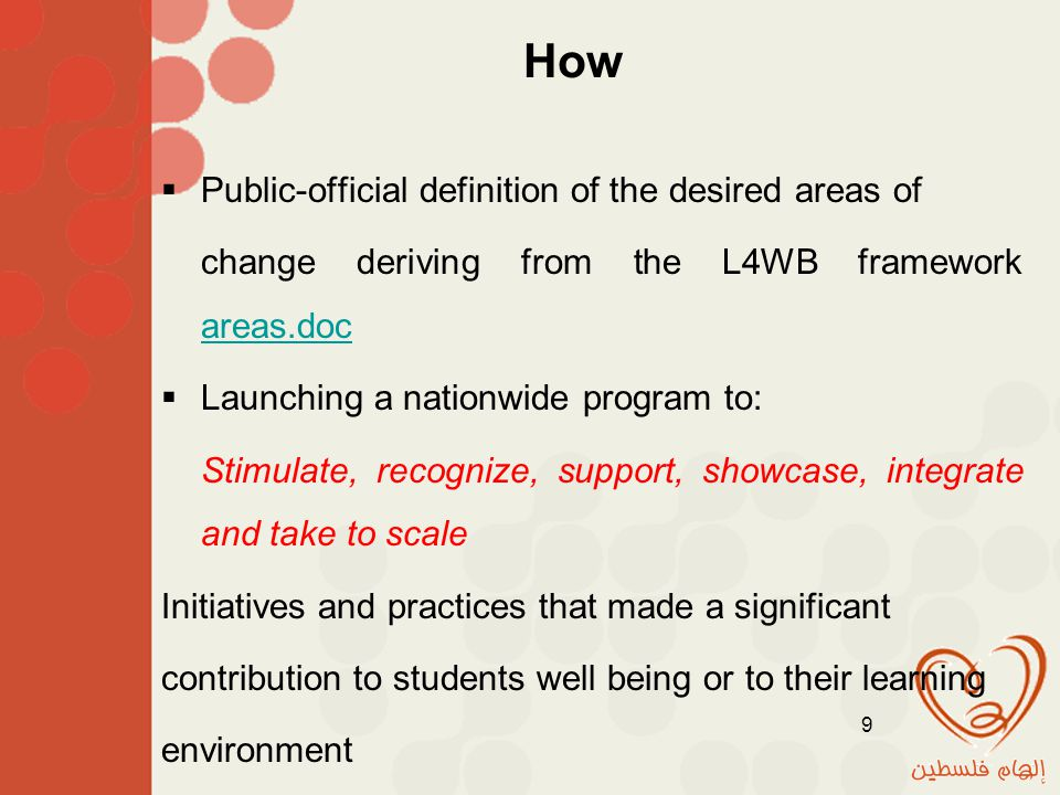 How  Public-official definition of the desired areas of change deriving from the L4WB framework areas.doc areas.doc  Launching a nationwide program to: Stimulate, recognize, support, showcase, integrate and take to scale Initiatives and practices that made a significant contribution to students well being or to their learning environment 9