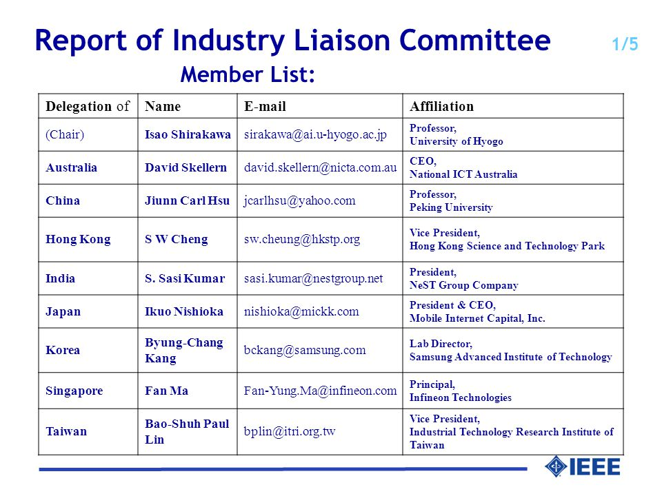 Report of Industry Liaison Committee 1/5 Member List: Delegation ofNameE-mailAffiliation (Chair)Isao Shirakawasirakawa@ai.u-hyogo.ac.jp Professor, University of Hyogo AustraliaDavid Skellerndavid.skellern@nicta.com.au CEO, National ICT Australia ChinaJiunn Carl Hsujcarlhsu@yahoo.com Professor, Peking University Hong KongS W Chengsw.cheung@hkstp.org Vice President, Hong Kong Science and Technology Park IndiaS.
