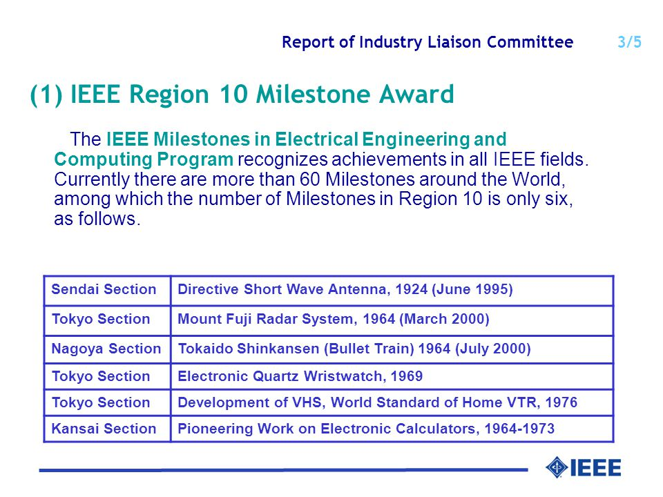 Report of Industry Liaison Committee 3/5 (1) IEEE Region 10 Milestone Award The IEEE Milestones in Electrical Engineering and Computing Program recognizes achievements in all IEEE fields.