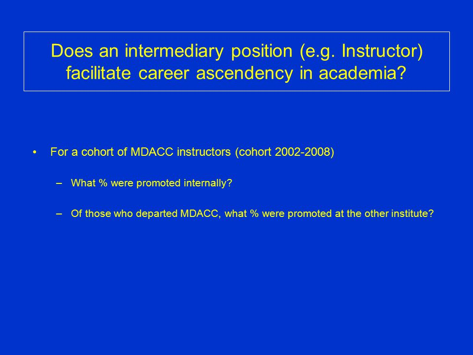 Does an intermediary position (e.g. Instructor) facilitate career ascendency in academia? For a cohort of MDACC instructors (cohort 2002-2008) –What %