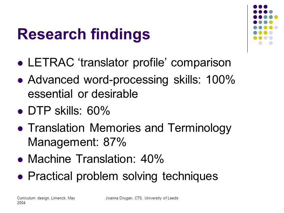 Curriculum design, Limerick, May 2004 Joanna Drugan, CTS, University of Leeds Research findings LETRAC 'translator profile' comparison Advanced word-processing skills: 100% essential or desirable DTP skills: 60% Translation Memories and Terminology Management: 87% Machine Translation: 40% Practical problem solving techniques