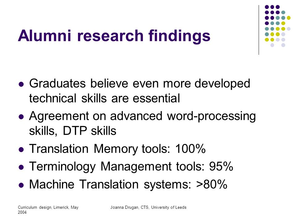 Curriculum design, Limerick, May 2004 Joanna Drugan, CTS, University of Leeds Alumni research findings Graduates believe even more developed technical skills are essential Agreement on advanced word-processing skills, DTP skills Translation Memory tools: 100% Terminology Management tools: 95% Machine Translation systems: >80%