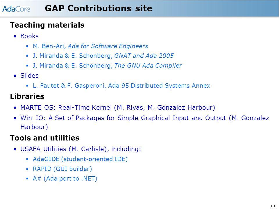 10 GAP Contributions site Teaching materials Books  M.
