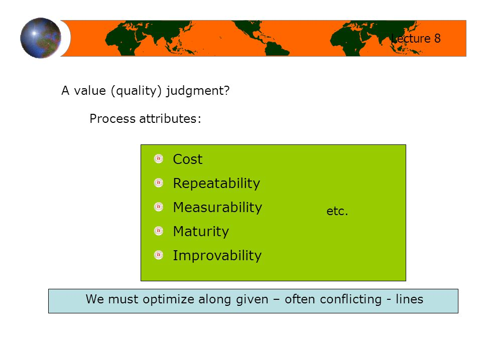 Lecture 8 A value (quality) judgment.