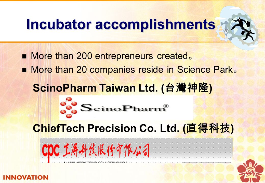 Incubator accomplishments Incubator accomplishments More than 200 entrepreneurs created 。 More than 20 companies reside in Science Park 。 ScinoPharm Taiwan Ltd.