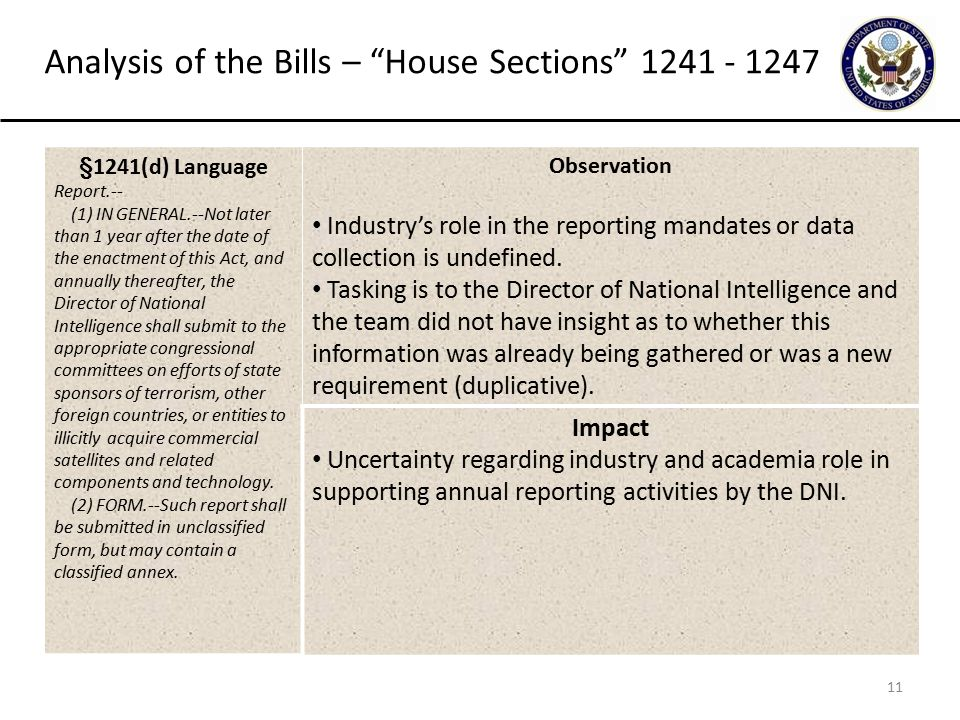 11 Analysis of the Bills – House Sections 1241 - 1247 §1241(d) Language Report.-- (1) IN GENERAL.--Not later than 1 year after the date of the enactment of this Act, and annually thereafter, the Director of National Intelligence shall submit to the appropriate congressional committees on efforts of state sponsors of terrorism, other foreign countries, or entities to illicitly acquire commercial satellites and related components and technology.