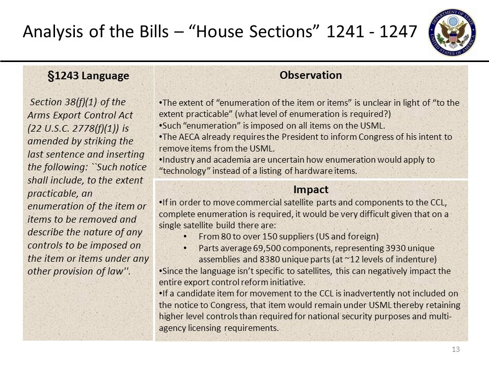 13 Analysis of the Bills – House Sections 1241 - 1247 §1243 Language Section 38(f)(1) of the Arms Export Control Act (22 U.S.C.