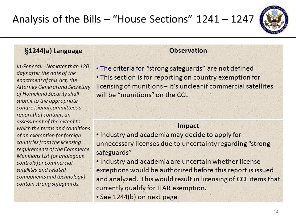 14 Analysis of the Bills – House Sections 1241 – 1247 §1244(a) Language In General.--Not later than 120 days after the date of the enactment of this Act, the Attorney General and Secretary of Homeland Security shall submit to the appropriate congressional committees a report that contains an assessment of the extent to which the terms and conditions of an exemption for foreign countries from the licensing requirements of the Commerce Munitions List (or analogous controls for commercial satellites and related components and technology) contain strong safeguards.