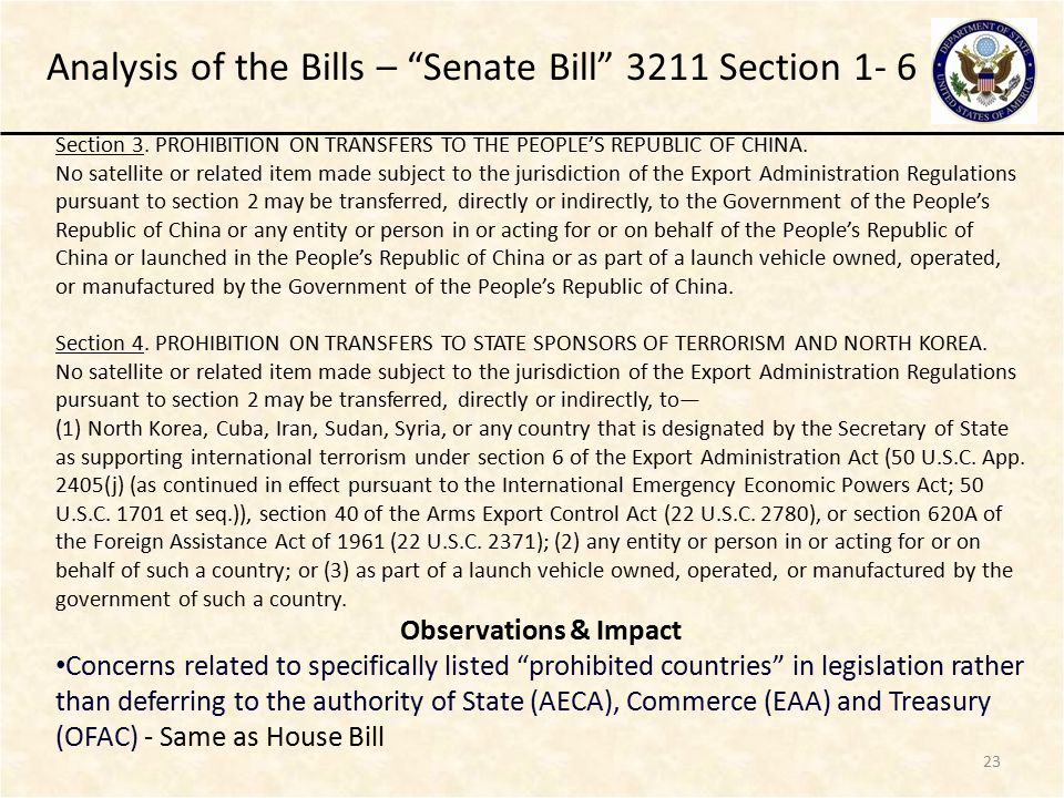 23 Analysis of the Bills – Senate Bill 3211 Section 1- 6 Section 3.