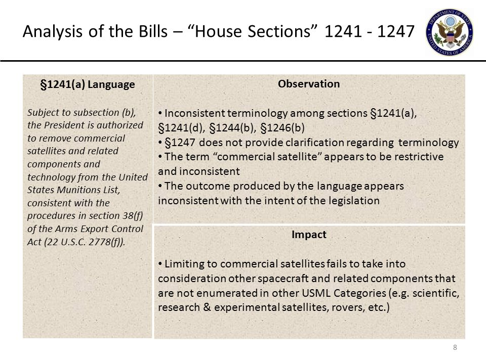 9 Analysis of the Bills – House Sections 1241 - 1247 §1241(b) Language The President may exercise the authority provided in subsection (a) only if the President submits to the appropriate congressional committees a determination that the transfer of commercial satellites and related components and technology from the United States Munitions List does not pose an unacceptable risk to the national security of the United States.