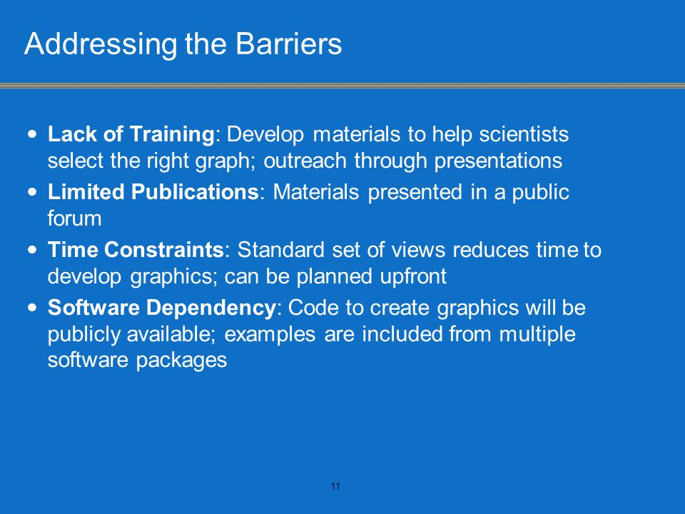 Addressing the Barriers Lack of Training: Develop materials to help scientists select the right graph; outreach through presentations Limited Publications: Materials presented in a public forum Time Constraints: Standard set of views reduces time to develop graphics; can be planned upfront Software Dependency: Code to create graphics will be publicly available; examples are included from multiple software packages 11