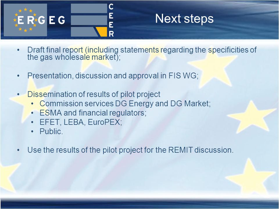 Next steps Draft final report (including statements regarding the specificities of the gas wholesale market); Presentation, discussion and approval in FIS WG; Dissemination of results of pilot project Commission services DG Energy and DG Market; ESMA and financial regulators; EFET, LEBA, EuroPEX; Public.