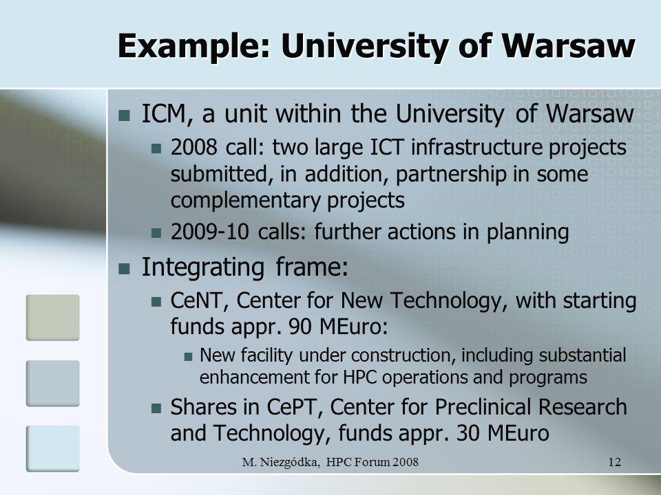 M. Niezgódka, HPC Forum 200812 Example: University of Warsaw ICM, a unit within the University of Warsaw 2008 call: two large ICT infrastructure proje