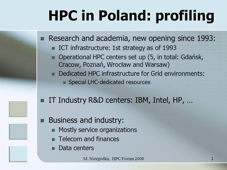 M. Niezgódka, HPC Forum 20082 HPC in Poland: profiling HPC in Poland: profiling Research and academia, new opening since 1993: ICT infrastructure: 1st