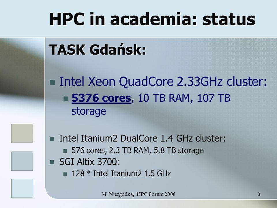 M. Niezgódka, HPC Forum 20083 HPC in academia: status TASK Gdańsk: Intel Xeon QuadCore 2.33GHz cluster: 5376 cores, 10 TB RAM, 107 TB storage Intel It