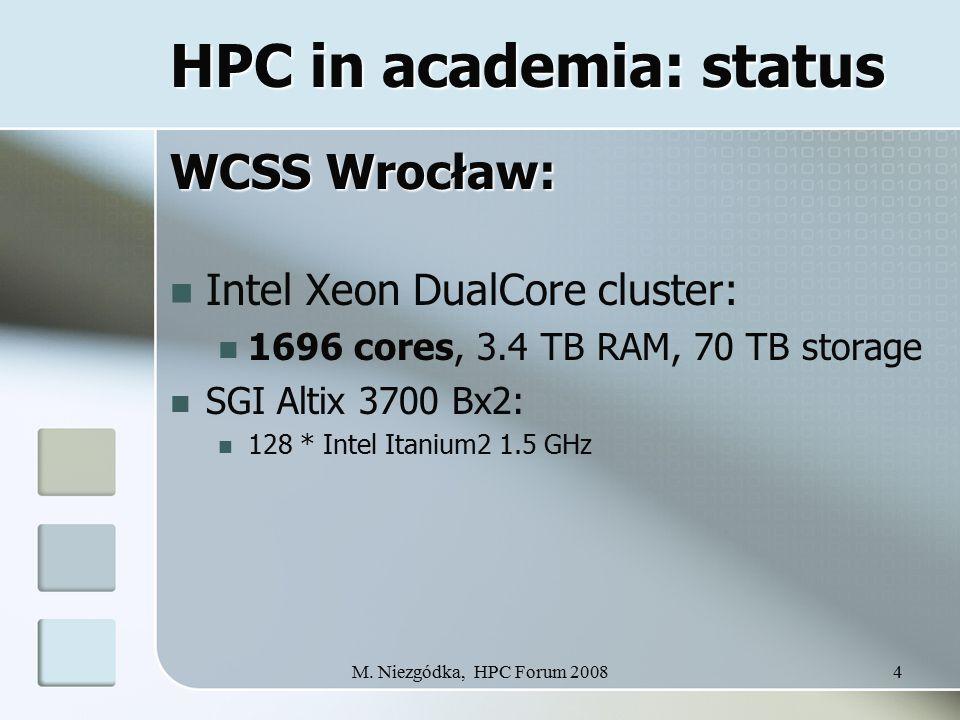 M. Niezgódka, HPC Forum 20084 HPC in academia: status WCSS Wrocław: Intel Xeon DualCore cluster: 1696 cores, 3.4 TB RAM, 70 TB storage SGI Altix 3700