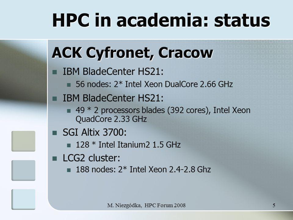 M. Niezgódka, HPC Forum 20085 HPC in academia: status ACK Cyfronet, Cracow IBM BladeCenter HS21: 56 nodes: 2* Intel Xeon DualCore 2.66 GHz IBM BladeCe