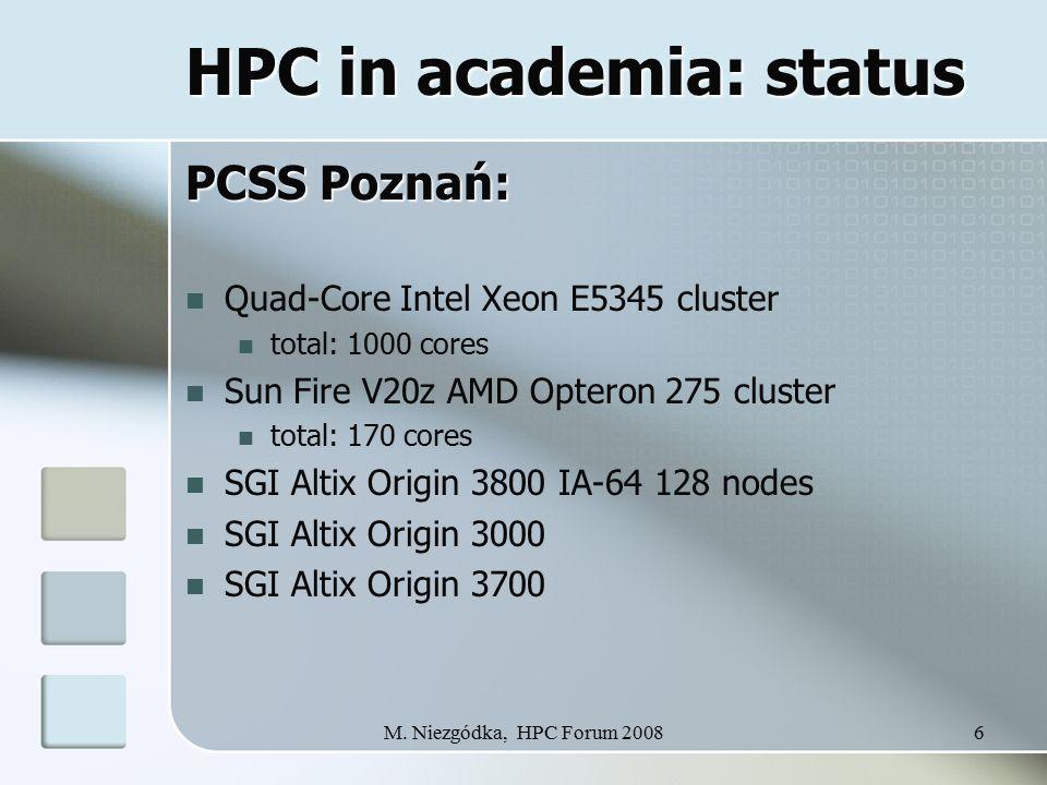 M. Niezgódka, HPC Forum 20086 HPC in academia: status PCSS Poznań: Quad-Core Intel Xeon E5345 cluster total: 1000 cores Sun Fire V20z AMD Opteron 275