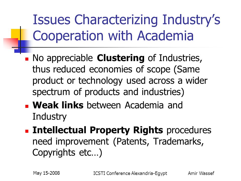 ICSTI Conference Alexandria-Egypt Amir Wassef May 15-2008 Issues Characterizing Industry's Cooperation with Academia No appreciable Clustering of Indu