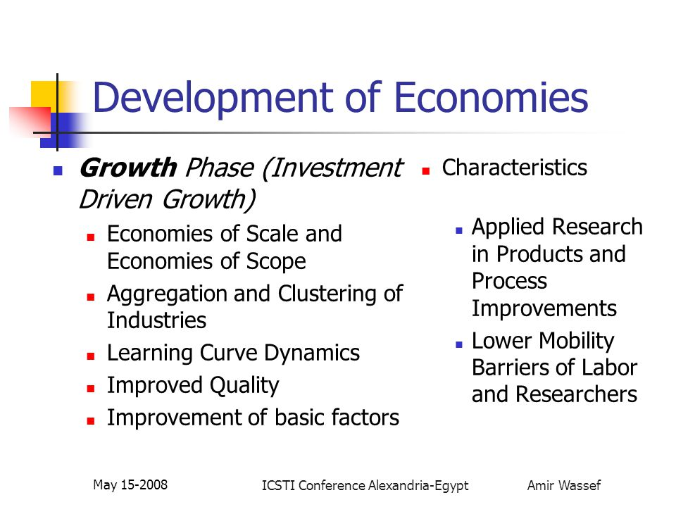 ICSTI Conference Alexandria-Egypt Amir Wassef May 15-2008 Development of Economies Growth Phase (Investment Driven Growth) Economies of Scale and Econ