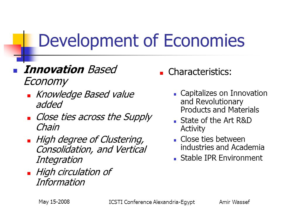 ICSTI Conference Alexandria-Egypt Amir Wassef May 15-2008 Development of Economies Innovation Based Economy Knowledge Based value added Close ties acr