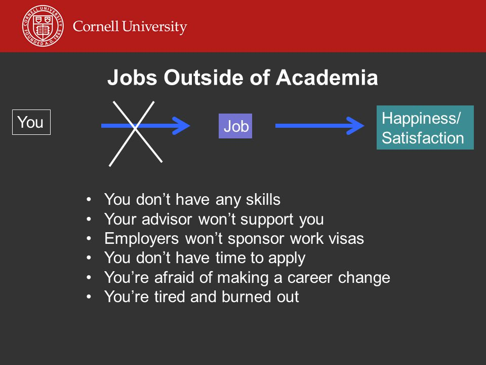 Jobs Outside of Academia You You'll be wasting your degree You'll have to compromise your personal values You'll miss academia after all You'll be viewed as a failure You won't be intellectually satisfied Job Happiness/ Satisfaction