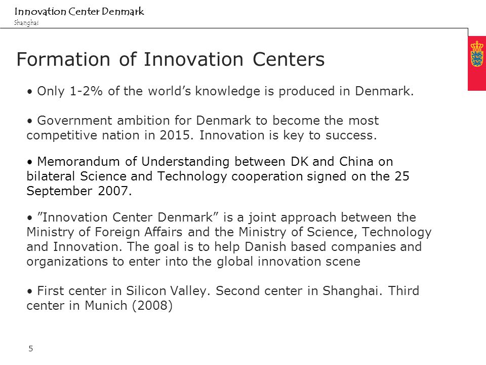 Minimum clear margin for text Fixed margin Innovation Center Denmark Shanghai 5 Formation of Innovation Centers Only 1-2% of the world's knowledge is produced in Denmark.