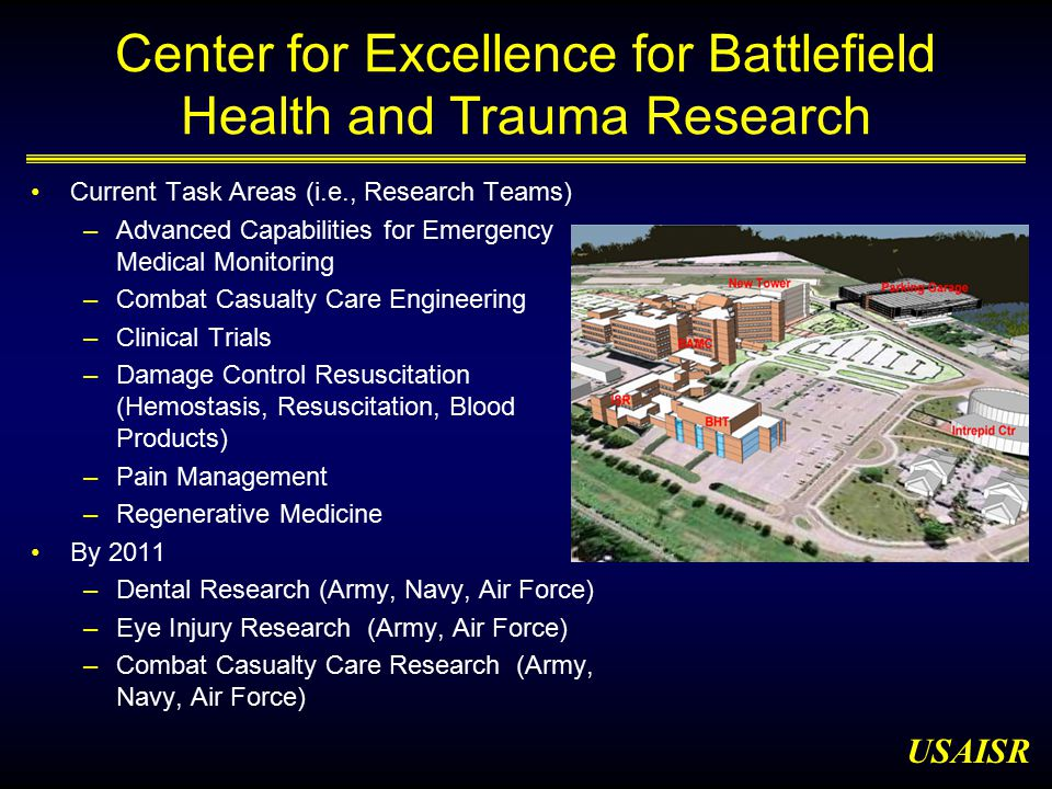 USAISR Center for Excellence for Battlefield Health and Trauma Research Current Task Areas (i.e., Research Teams) –Advanced Capabilities for Emergency Medical Monitoring –Combat Casualty Care Engineering –Clinical Trials –Damage Control Resuscitation (Hemostasis, Resuscitation, Blood Products) –Pain Management –Regenerative Medicine By 2011 –Dental Research (Army, Navy, Air Force) –Eye Injury Research (Army, Air Force) –Combat Casualty Care Research (Army, Navy, Air Force)