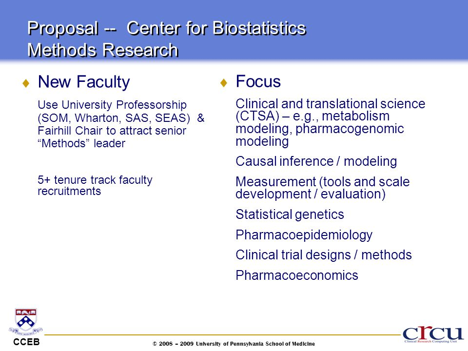 CCEB © 2008 – 2009 University of Pennsylvania School of Medicine Proposal -- Center for Biostatistics Methods Research  New Faculty Use University Pr