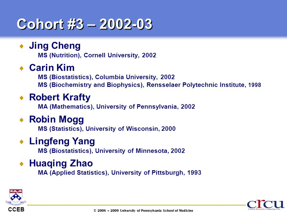 CCEB © 2008 – 2009 University of Pennsylvania School of Medicine  Jing Cheng MS (Nutrition), Cornell University, 2002  Carin Kim MS (Biostatistics),