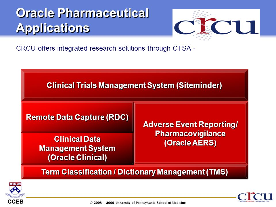 CCEB © 2008 – 2009 University of Pennsylvania School of Medicine Oracle Pharmaceutical Applications CRCU offers integrated research solutions through