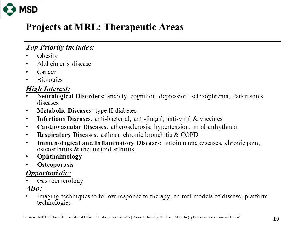 10 Projects at MRL: Therapeutic Areas Top Priority includes: Obesity Alzheimer's disease Cancer Biologics High Interest: Neurological Disorders: anxie