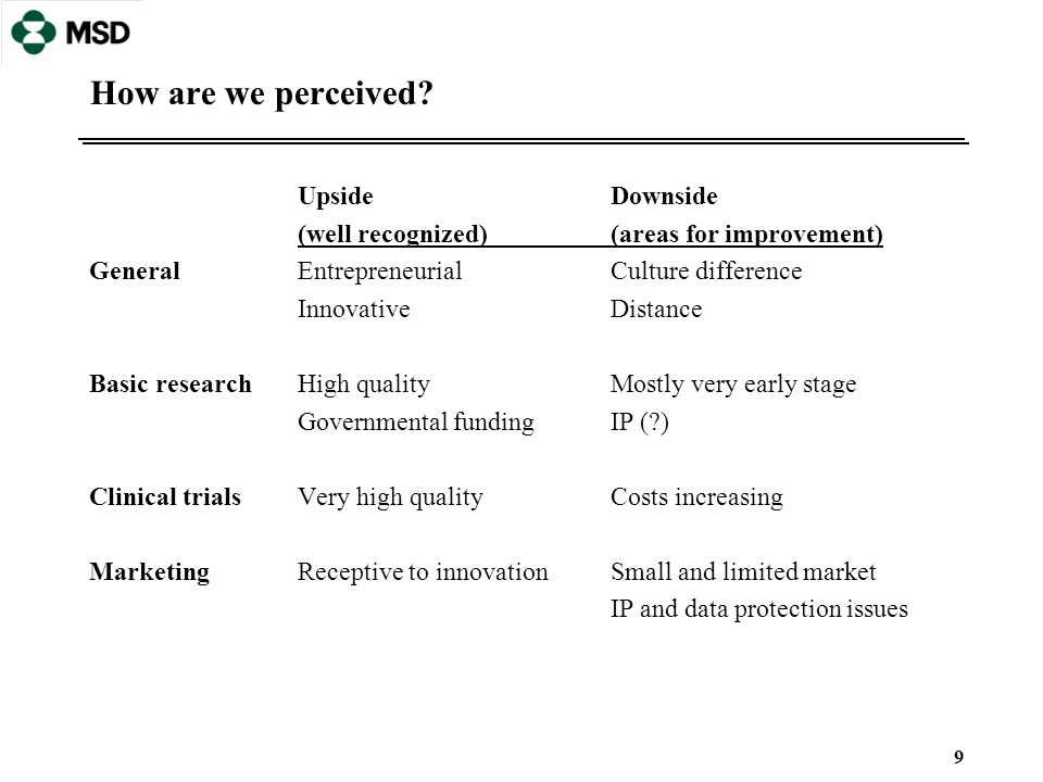 9 How are we perceived? UpsideDownside (well recognized)(areas for improvement) GeneralEntrepreneurialCulture difference InnovativeDistance Basic rese