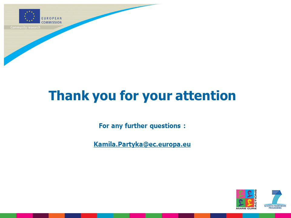 Thank you for your attention For any further questions : Kamila.Partyka@ec.europa.eu