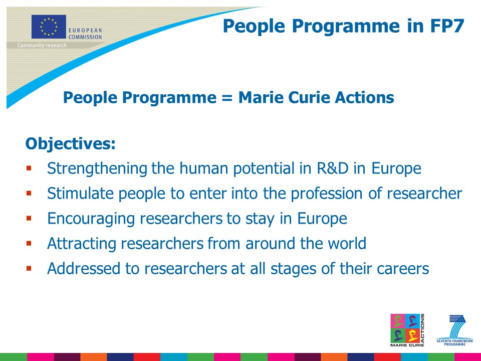 People Programme in FP7 People Programme = Marie Curie Actions Objectives:  Strengthening the human potential in R&D in Europe  Stimulate people to enter into the profession of researcher  Encouraging researchers to stay in Europe  Attracting researchers from around the world  Addressed to researchers at all stages of their careers