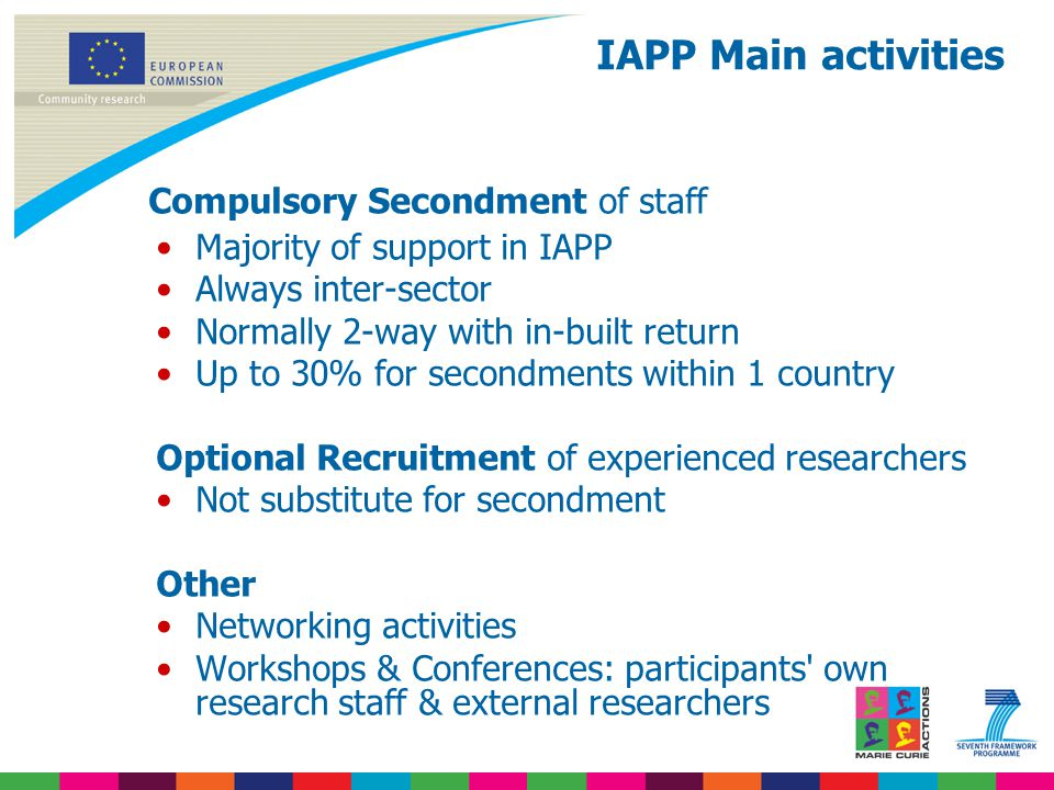 Compulsory Secondment of staff Majority of support in IAPP Always inter-sector Normally 2-way with in-built return Up to 30% for secondments within 1 country Optional Recruitment of experienced researchers Not substitute for secondment Other Networking activities Workshops & Conferences: participants own research staff & external researchers IAPP Main activities