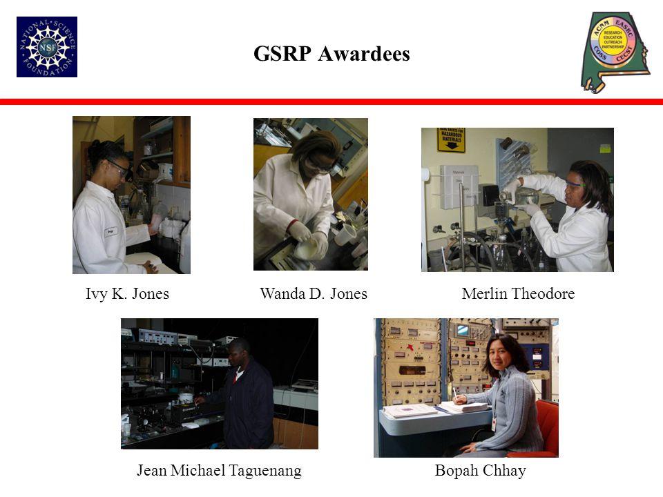 GSRP Awardees Ivy K. Jones Wanda D. Jones Merlin Theodore Jean Michael Taguenang Bopah Chhay