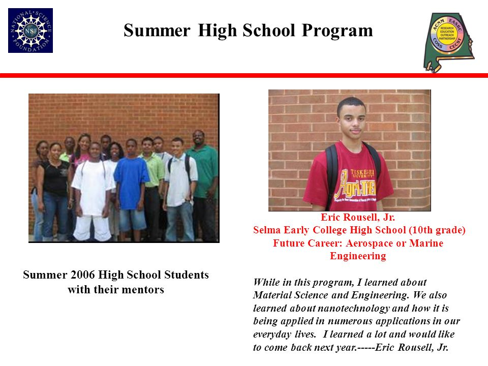 Summer High School Program Eric Rousell, Jr.