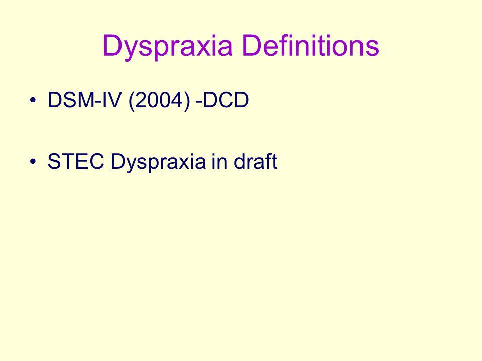 Dyspraxia Definitions DSM-IV (2004) -DCD STEC Dyspraxia in draft
