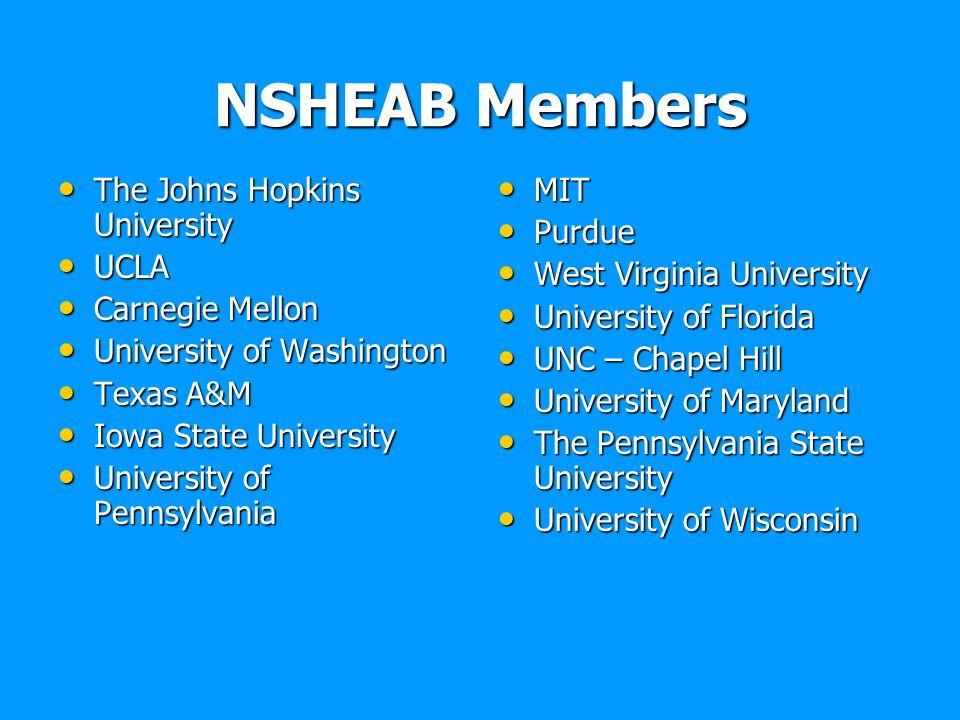 NSHEAB Members The Johns Hopkins University The Johns Hopkins University UCLA UCLA Carnegie Mellon Carnegie Mellon University of Washington University