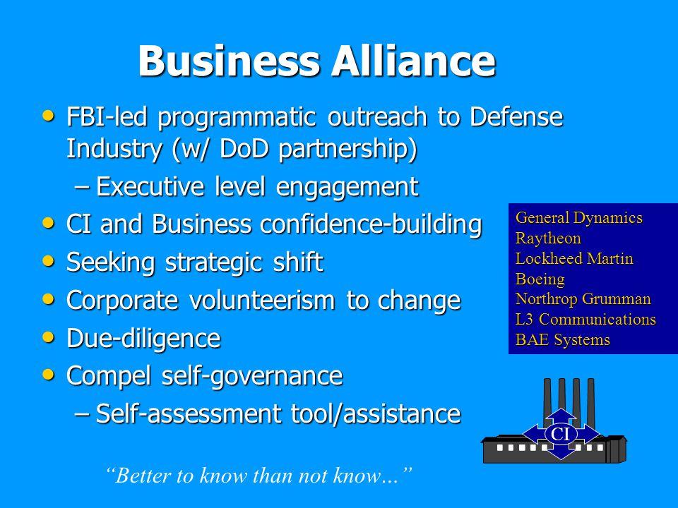 Business Alliance FBI-led programmatic outreach to Defense Industry (w/ DoD partnership) FBI-led programmatic outreach to Defense Industry (w/ DoD par