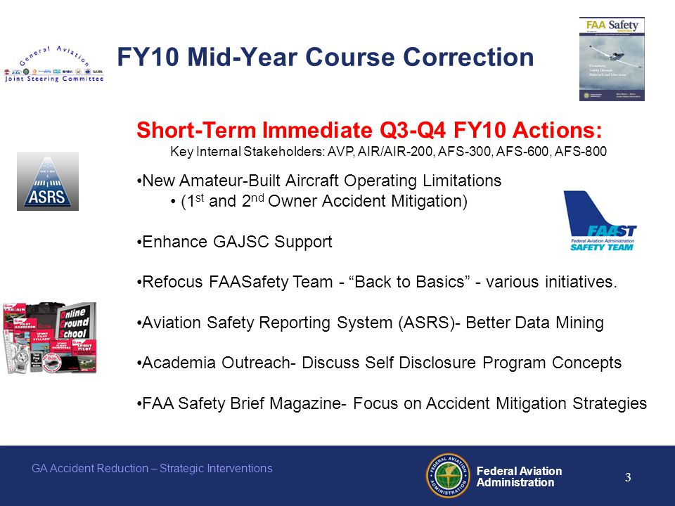 Federal Aviation Administration 3 GA Accident Reduction – Strategic Interventions FY10 Mid-Year Course Correction Short-Term Immediate Q3-Q4 FY10 Actions: Key Internal Stakeholders: AVP, AIR/AIR-200, AFS-300, AFS-600, AFS-800 New Amateur-Built Aircraft Operating Limitations (1 st and 2 nd Owner Accident Mitigation) Enhance GAJSC Support Refocus FAASafety Team - Back to Basics - various initiatives.