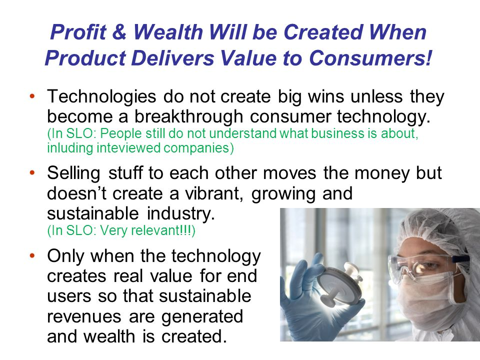 Profit & Wealth Will be Created When Product Delivers Value to Consumers.