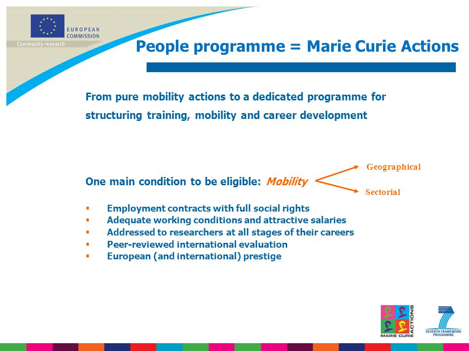 People programme = Marie Curie Actions From pure mobility actions to a dedicated programme for structuring training, mobility and career development One main condition to be eligible: Mobility  Employment contracts with full social rights  Adequate working conditions and attractive salaries  Addressed to researchers at all stages of their careers  Peer-reviewed international evaluation  European (and international) prestige Geographical Sectorial