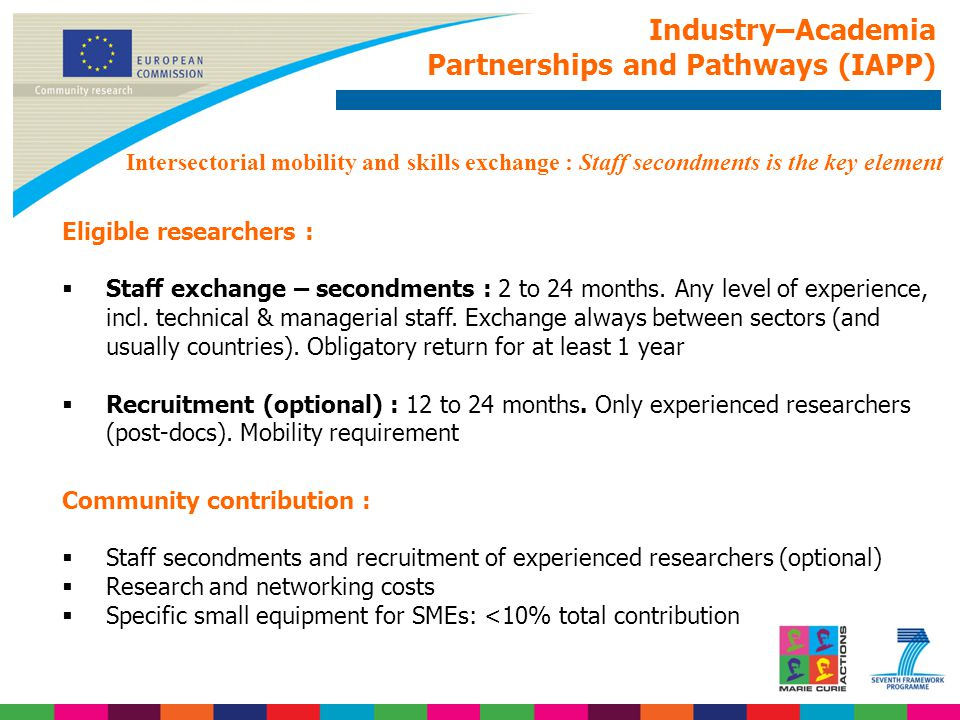Industry–Academia Partnerships and Pathways (IAPP) Eligible researchers :  Staff exchange – secondments : 2 to 24 months.