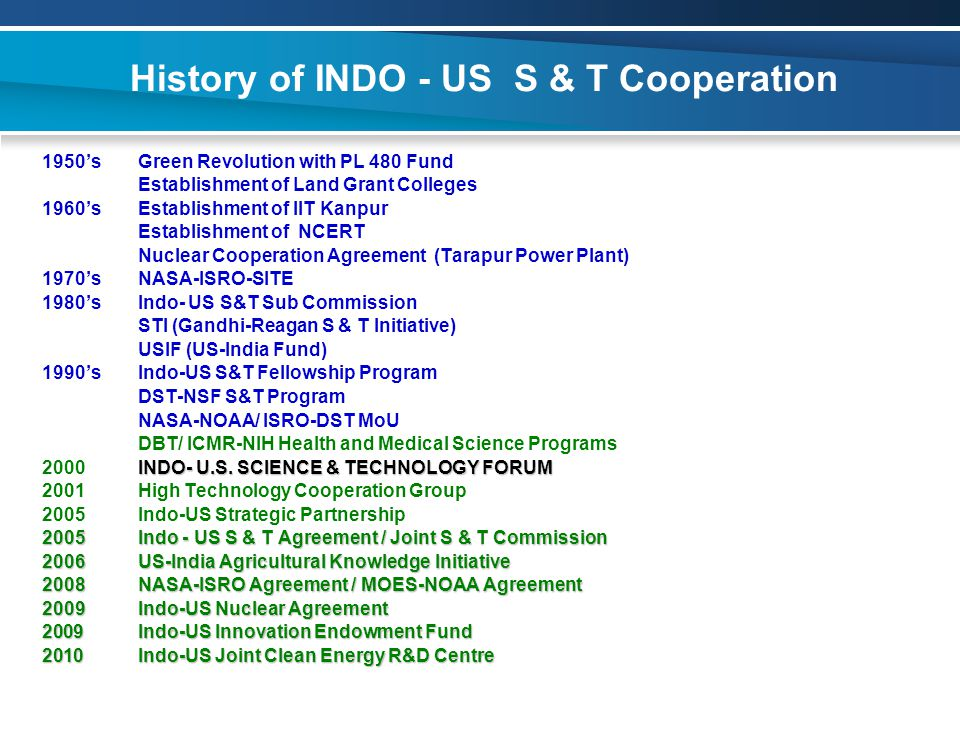 History of INDO - US S & T Cooperation 1950'sGreen Revolution with PL 480 Fund Establishment of Land Grant Colleges 1960'sEstablishment of IIT Kanpur Establishment of NCERT Nuclear Cooperation Agreement (Tarapur Power Plant) 1970'sNASA-ISRO-SITE 1980'sIndo- US S&T Sub Commission STI (Gandhi-Reagan S & T Initiative) USIF (US-India Fund) 1990'sIndo-US S&T Fellowship Program DST-NSF S&T Program NASA-NOAA/ ISRO-DST MoU DBT/ ICMR-NIH Health and Medical Science Programs INDO- U.S.