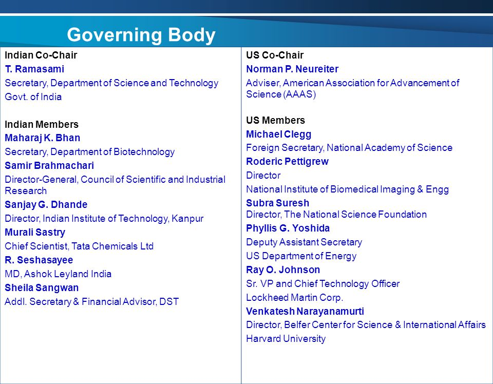 Governing Body Indian Co-Chair T. Ramasami Secretary, Department of Science and Technology Govt.